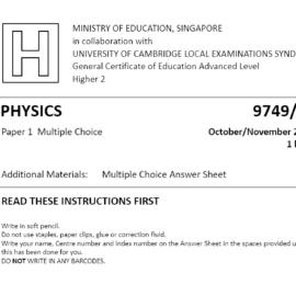 "Physics – GCE ""A"" Paper 1 Solutions – IntegrateDots"